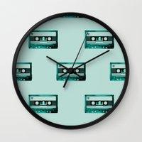 cassette Wall Clocks featuring cassette by Ginger Pigg Art & Design