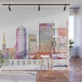 Jacksonville skyline landmarks in watercolor Wall Mural