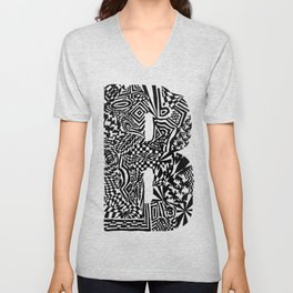 Alphabet Letter B Impact Bold Abstract Pattern (ink drawing) Unisex V-Neck
