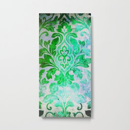 Green Damask Pattern Metal Print