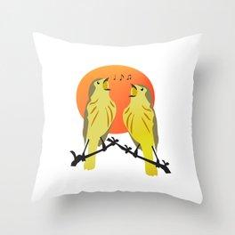 bird singing Throw Pillow