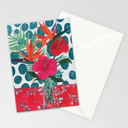 Tropical Bouquet in Living Coral and Emerald Green Stationery Cards