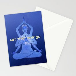 let that shit go / Durga yoga relax poster Stationery Cards