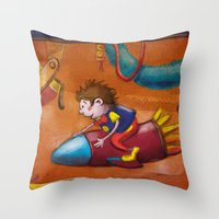 rocket Throw Pillows featuring Rocket by András Balogh