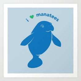 I love Manatees Art Print