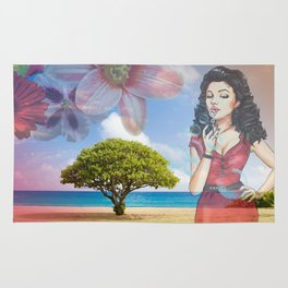 Beautiful Scenery Flowers & Girl Blowing Bubbles Rug