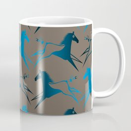 Blue Brown War Horse Coffee Mug
