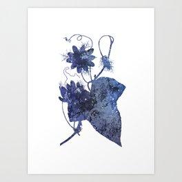 Watercolor Indigo Passion Flower Art Print