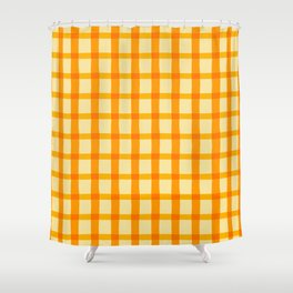 Yellow and Orange Jagged Edge Plaid Shower Curtain