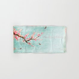 Live life in full bloom - Romantic Spring Cherry Blossom butterfly Watercolor illustration on teal Hand & Bath Towel