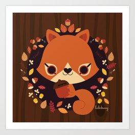 Wintertime Squirrel Art Print