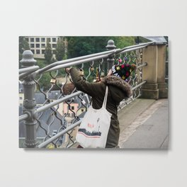 Unknown woman taking a picture in Luxembourg Capitol City (Bridge).I Love Amsterdam cap, Berlin bag Metal Print