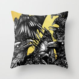 The Riot : Crows (Color version) Throw Pillow