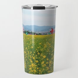 Rapeseed yellow flowers in Busan Travel Mug