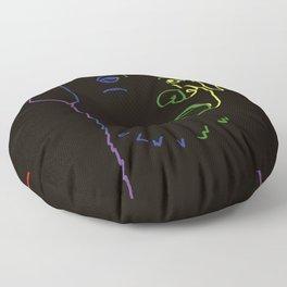 Old Lab Silhouette In Rainbow Labrador Retriever Floor Pillow