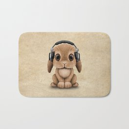 Cute Baby Bunny Dj Wearing Headphones Bath Mat