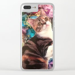 Cute Cat on a Marbled Background Clear iPhone Case