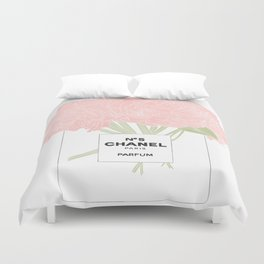 minimal no. 5 perfume with pink flowers Duvet Cover