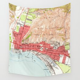 Vintage Map of Ventura California (1951) Wall Tapestry