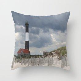 Fire Island Light From The Beach Throw Pillow