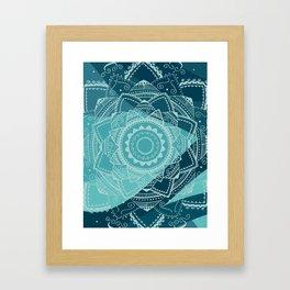 Singing white mandala Framed Art Print