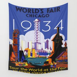 1934 Chicago World's Fair Travel Poster Wall Tapestry