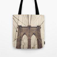 brooklyn bridge Tote Bags featuring Brooklyn Bridge by Caroline Mint