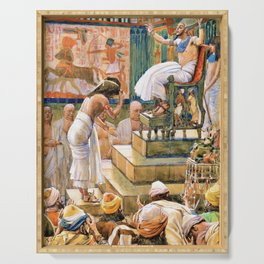 James Tissot - Joseph and His Brethren Welcomed by Pharaoh - Digital Remastered Edition Serving Tray