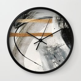 Armor [7]: a bold minimal abstract mixed media piece in gold, black and white Wall Clock