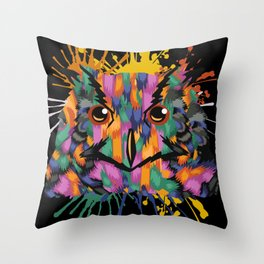 Owl Face Color Splashes Throw Pillow