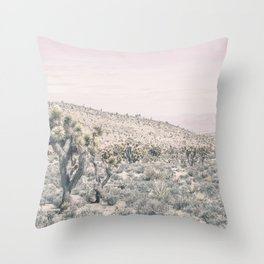 Mojave Pink Dusk // Desert Cactus Landscape Soft Cloudy Sky Mountain Scape Photograph Throw Pillow