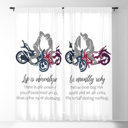 Biker inspirational quotes- Motorbikers performing stunts Blackout Curtain