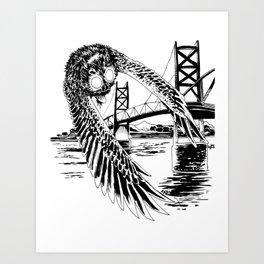 Mothman loves bridges Art Print