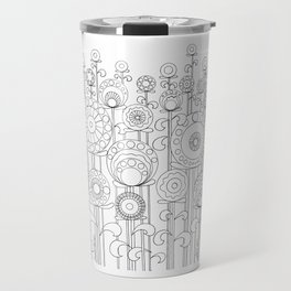 Flower Garden BW Travel Mug