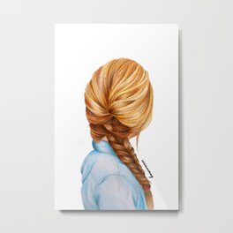 Blonde Fishtail Braid Girl Drawing  Metal Print