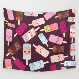 summer ice cream, ice lolly  Kawaii with pink cheeks and winking eyes Wall Tapestry