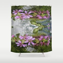 Flowers and reflections in water Shower Curtain