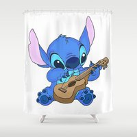 stitch Shower Curtains featuring Stitch by Christa Morgan ☽