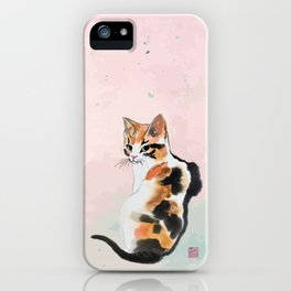 Green eyed calico iPhone Case
