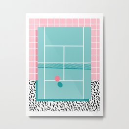 Baller - tennis sports retro pastel palm springs vacation athlete full court memphis style throwback Metal Print