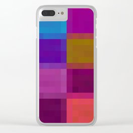 blue pink green purple pixel background Clear iPhone Case