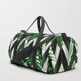 Geometrical green black white tropical monster leaves Duffle Bag