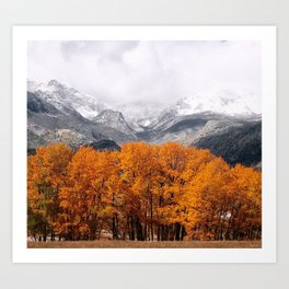 Autumn Mountain Snowfall Art Print