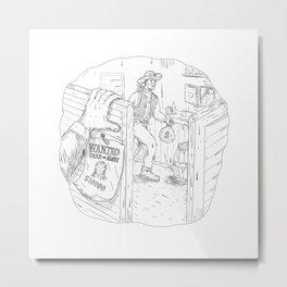 Cowboy Robbing Saloon Drawing Metal Print