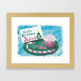 Happy Birthday Jesus Christmas Card Framed Art Print