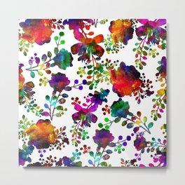 Watercolor unusual  flower rainbow doodle Metal Print