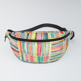 Retro Beach Chair Bright Watercolor Stripes on White Fanny Pack