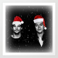 larry stylinson Art Prints featuring Larry Stylinson Christmas B&W by girllarriealmighty