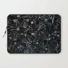 White ink, black card board. Graphic art, ink spring flowers Laptop Sleeve