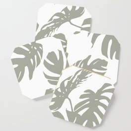 Simply Retro Gray Palm Leaves on White Coaster